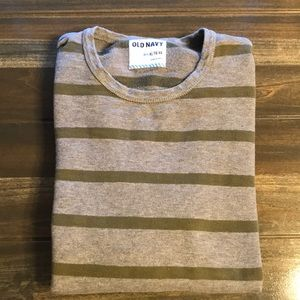 Men's Old Navy Grey/Army Green Striped Sweater